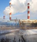 Winteransicht des Wärmekraftwerks Stockfoto