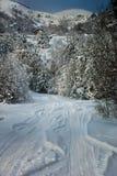 Winteransicht nahe Klisura, Bulgarien Stockfoto