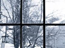 Winteransicht vom Fenster Lizenzfreies Stockbild