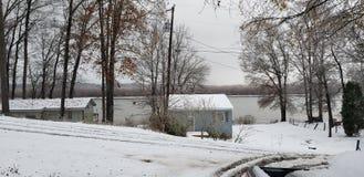 Winteransicht von der Eingangsterrasse stockbilder