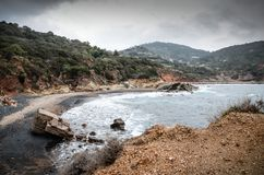 Winteransicht von Terranera-Strand, auf Elba Island lizenzfreies stockfoto
