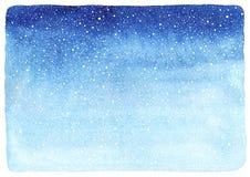 Winteraquarell-Steigungshintergrund mit fallender Schneebeschaffenheit Lizenzfreies Stockfoto
