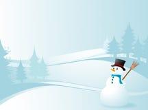 Winterauslegung mit einem Schneemann Lizenzfreies Stockbild