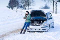 Winterautozusammenbruch - Frauenrufen um Hilfe lizenzfreie stockbilder