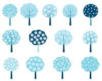 Winterbäume eingestellt in Blaues und in weißes vektor abbildung