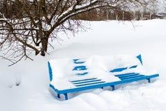 Winterbank Stockbilder