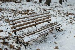 Winterbank mit Schnee Stockbild
