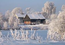 Winterbauernhof Lizenzfreies Stockfoto