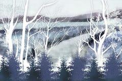 Winterbaumhintergrund, der die Berge - grafische Beschaffenheit von Malereitechniken übersieht Stockfotos