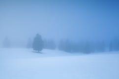Winterberge im dichten Morgennebel lizenzfreie stockfotografie