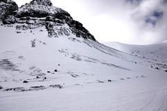 Winterberge in Russland und im Blizzard, Khibiny, Kola Peninsula Stockfoto