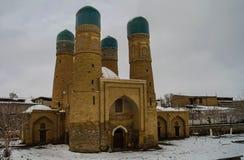 Winterblick zur Chor-geringen Moschee, Bukhara Usbekistan Stockbild