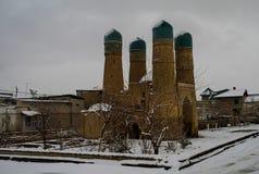 Winterblick zur Chor-geringen Moschee, Bukhara Usbekistan stockbilder