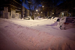 Winterblizzard an NYC Stockbild