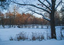 Winterbrücke Stockfoto