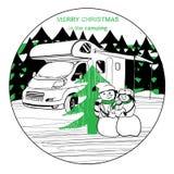 Wintercamper mit Familienschneemann Lizenzfreies Stockfoto