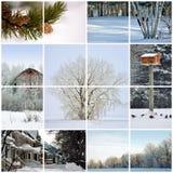Wintercollage stockbilder