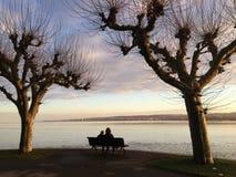 Winterday caldo al lago di Costanza fotografia stock