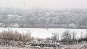 Winterdorf auf Küstenfluß Lizenzfreies Stockfoto