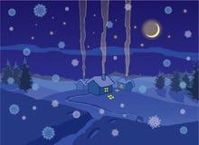 Winterdorf in der Nacht Lizenzfreie Stockfotos