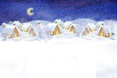 Winterdorf-Landschaftshintergrund Fest von Weihnachten Stockfoto
