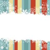 Wintereinladungspostkarte mit Schneeflocken Stockfoto