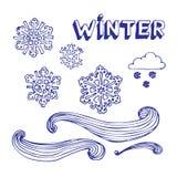 Winterelementset Stockfotos