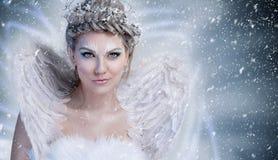 Winterfee mit Flügeln lizenzfreie stockbilder