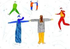 Winterfeiertag - Abbildung des Hand gezeichneten Kindes Lizenzfreies Stockfoto