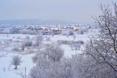 Winterfeld am Abend Stockfotos