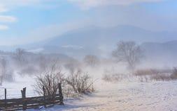 Winterfeld in einem Sturm lizenzfreie stockbilder