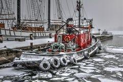 Winterfeuerboot Stockfotos