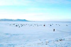 Winterfischen stockbilder