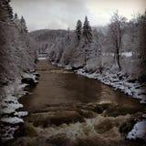 Winterfluß an den Bergen Lizenzfreies Stockbild