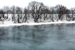 Winterfluß an einem bewölkten Tag Stockfotos