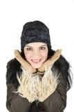 Winterfrau mit großem Lächeln Lizenzfreies Stockfoto