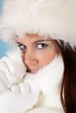 Winterfrau mit Pelzhut Stockfoto