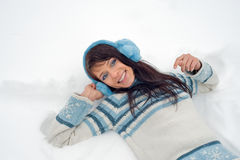 Winterfrauenportrait Stockfotografie