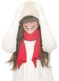 Winterfrauenspaß getrennt stockfotografie