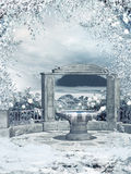 Wintergarden con una fontana Fotografia Stock