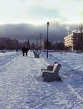 wintergarden z ławkami Boże Narodzenia Fotografia Royalty Free