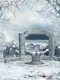 Wintergarten mit einem Brunnen Stockfoto