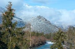Wintergebirgsfluss (Österreich, Tirol) Stockbilder