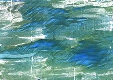 Wintergreen Dream abstract watercolor background. Hand-drawn abstract watercolor. Used colors: Wintergreen Dream, Myrtle green, Hookers green, Teal blue, White Stock Photo