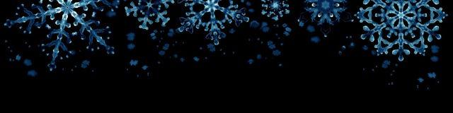 Wintergrenze mit blauen Schneeflocken auf schwarzem Hintergrund Handgemalte horizontale Illustration Stockfotografie