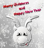 Wintergrußkarte mit Weihnachtsrotwild Lizenzfreies Stockfoto