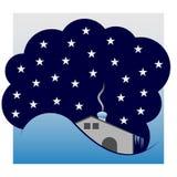Winterhäuschen unter dem Himmel mit Sternen Stockfotos