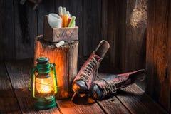 Winterhütte mit Rochen und Wachs Lizenzfreies Stockbild
