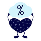 Winterherz mit Prozentzeichen Lizenzfreie Stockfotografie