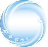 Winterhintergrund als rundes Feld mit Schneeflocken Lizenzfreies Stockfoto